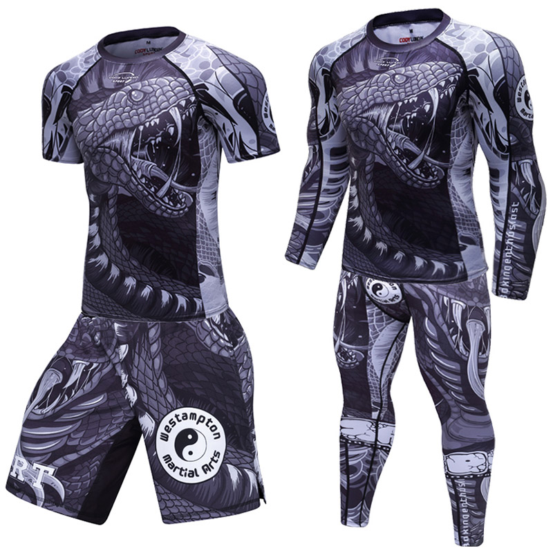 Men Compression T-shirt+Pants MMA Rashgard Kit Long Sleeves Top For Fitness Man Tracksuit Thermal Underwear Base Sets Clothing