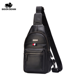 BISON DENIM Fashion Genuine Leather Messenger Bag Men Chest Bag Crossbody Shoulder Bag Male Casual Sling Chest Pack N2666