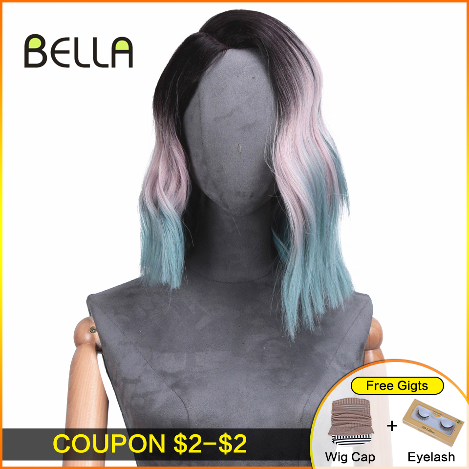 BELLA Wigs For Women Cosplay Party Body Pink Green Red Blonde Black Root Gradient Color Side Part Heat Resistant Part Lace Wig