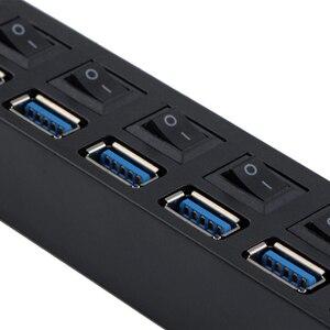 USB 3,0 концентратор Мульти USB сплиттер 7 портов расширитель несколько USB 3 Hab с адаптером питания USB3.0 концентратор с переключателем для компьютера