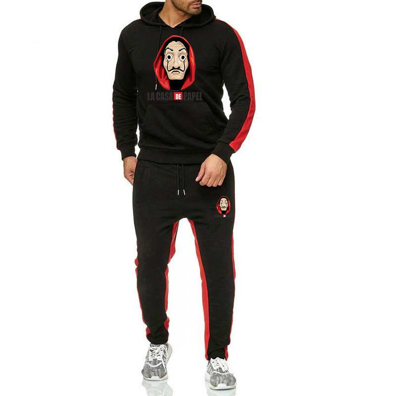 2019 NEW Gyms Printing Men Sets Sportswear Tracksuits Sets Men's Hoodies+Pants Running Suits Men's Sports Suits Plus Size S-3XL