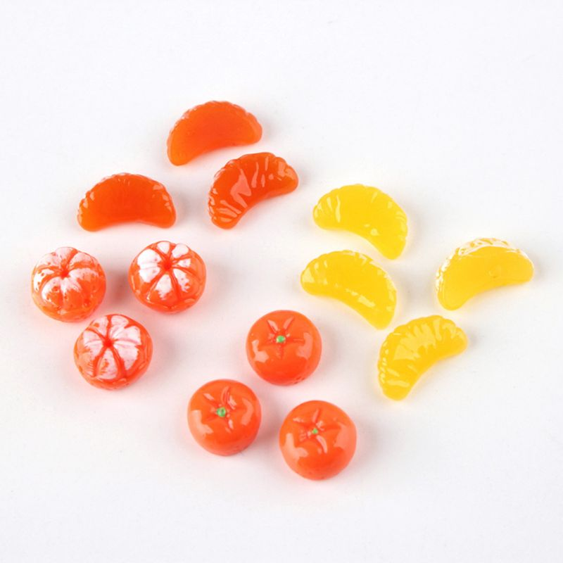 50Pcs Cute Mini Orange Petals Fruit Resin Flat Back Cabochon Miniature DIY Charm