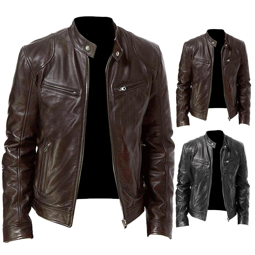 Autumn Men Fashion Motorcycle Leather Jacket Fit Coat Casual Zipper Jacket