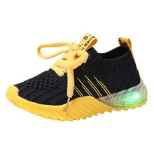 Children Kid Baby Girls Boys Shoes Candy Color Led Luminous Sport Run Striped Sneakers Shoes Toddler Sneakers H0909