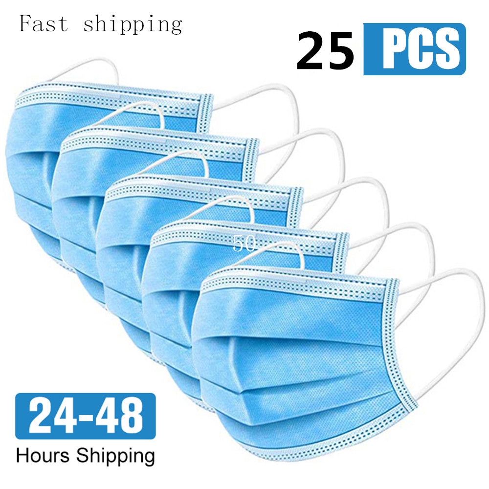 25 Pcs Anti-Dust Dustproof Disposable Earloop Face Mouth Masks Facial Protective Cover Masks