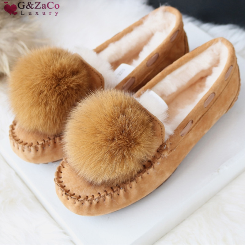 G&Zaco Luxury Autumn Winter Sheep Fur Flats Shoes Genuine Leather Cowhide Nubuck Female Natural Ball Fox