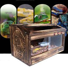 ПЭТ рептилий деревянный Террариум окно корпус клетка ящерица, змея черепаха бак замок вентиляционный ПЭТ рептилий поставки контейнер для инструментов