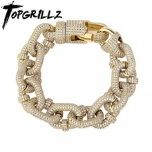 Chain Bracelet Fashion Jewelry Iced-Out TOPGRILLZ Cubic-Zirconia Gift Hip-Hop Men's Micro Pave