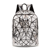 2019 Laser Holographic Backpack Female Student Geometric Diamond lattice bookBag Fashion Bling PVC Material Travel shoulder bags(China)