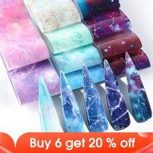 10 Pcs Gradient Sterrenhemel Nail Folies Marmer Holografische Ontwerp Nail Art Transfer Sticker Wrap Decoratie Lijm Decals JI1022