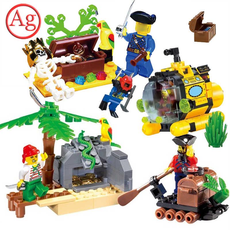 啓発互換 Legoed 海賊シリーズ宝転送所セットビルディングブロック潜水艦モデルレンガのおもちゃ