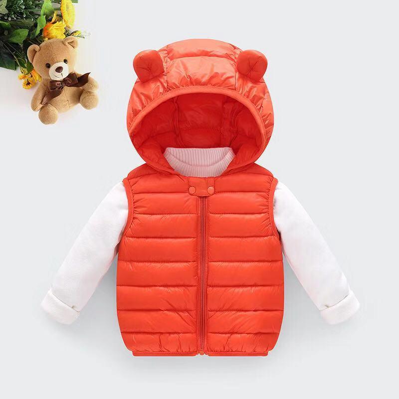 Одежда для маленьких девочек; зимнее Детское пальто; светильник с капюшоном; однотонная хлопковая верхняя одежда; жилет для малышей; одежда для маленьких мальчиков - Цвет: Оранжевый
