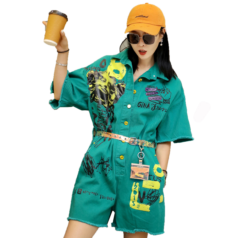 QING MO Women Red Cartoon Printing Playsuits Women Green Belt Playsuits Women Turn up Collar Short Sleeve Playsuits ZQY117-in Rompers from Women's Clothing    1