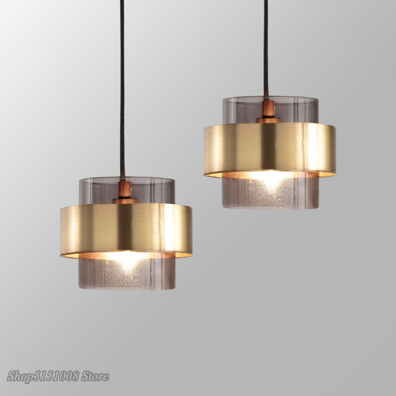 Modern Gold Cylindrical Glass Led Pendant Lights Nordic Living Room Dining Room Lustre Kitchen Hanging Lamp Home Decor Fixtures