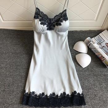 Sexy Satin Sleepwear Women Sleep&Lounge Silk Robes Nightgowns Female Lace Strap Nightdress Pyjama Winter Bathrobe Home Suit *S