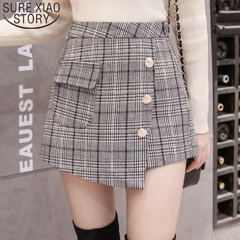 Shorts Women 2019 Button Plaid Casual High Loose Zipper Fly Shorts Skirts Short Pants Women Pockets High Waist Shorts 7403 50