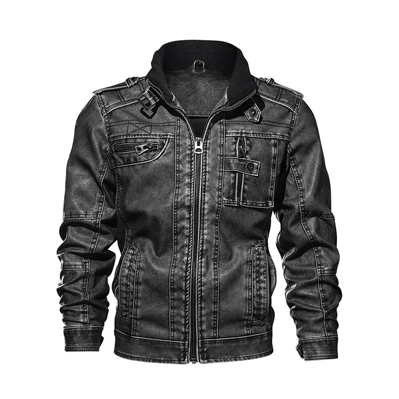 Men Leather Jacket 2019 Autumn Winter Hot Sale Locomotive Punk Casual Coat Warm Plus Size Waterproof Leather Clothing