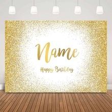 White background gold glitter birthday backdrop happy birthday theme party decoration customize photocall studio