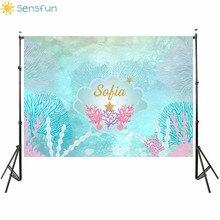 Sensfun sereia foto fundos crianças festa de aniversário menina princesa fundo tema mar medusa photocall