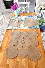 RE desíng – nappe de cuisine en Jute, carré en paille, chemin/Iran, 45x45cm