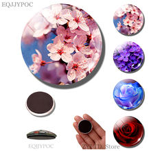 Magnet Decoration Refrigerator Cherry-Blossom-Sticker Flower-Fridge Glass Sakura Cabochon