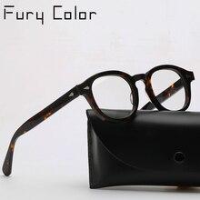 Gafas de acetato redondas para hombres y mujeres, anteojos de montura óptica para miopía, estilo Retro Vintage, estilo Johnny Depp, gafas de montura óptica graduadas