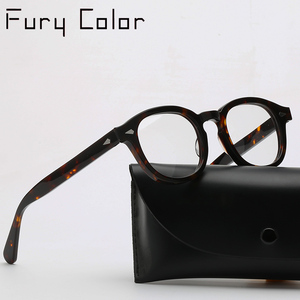 Image 1 - Round Acetate spectacle Vintage Retro Johnny Depp Style Clear myopia optical frame Glasses Men Women prescription Optic Frame