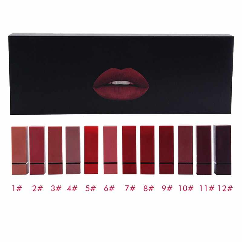 Dropshipping di marca Rossetto 12 pz/lotto lip kit matte Impermeabile Velluto Nutriente rossetto Rosso Tinta Nude batom trucco set regalo