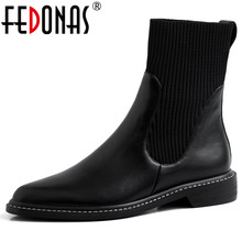 FEDONAS Fashion Women Genuine Leather Knitting Ankle Boots Winter New High Heels