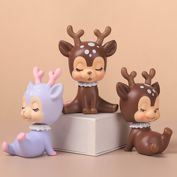 Furnishings Zakka Resin Simulated Deer Duck Cat Ornaments Zakka Fawn Cute Cartoon Deers Home Car Ornaments Desktop Decorations image