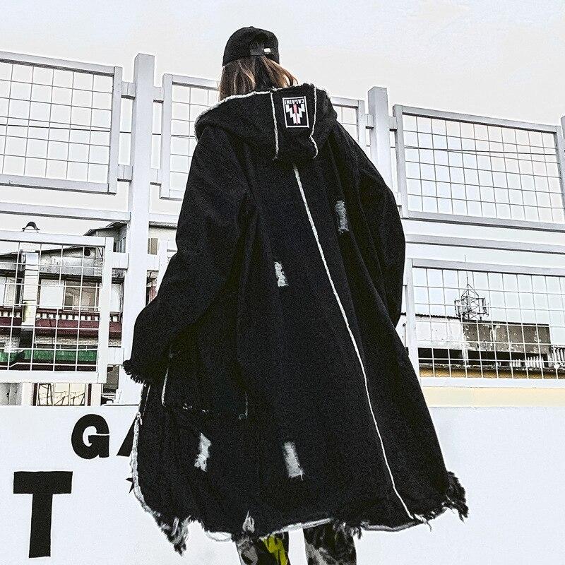 Mode gothique longue Trench manteau hommes Hip Hop à capuche coupe vent vestes noir Streetwear Swag pardessus mâle décontracté Streetwear - 3
