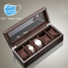 Top 5 Slots Luxury Wood Watch Storage Box With Window Pewter Veneer Watch Display Case New Jewelry Gift Watch Boxes Case A031