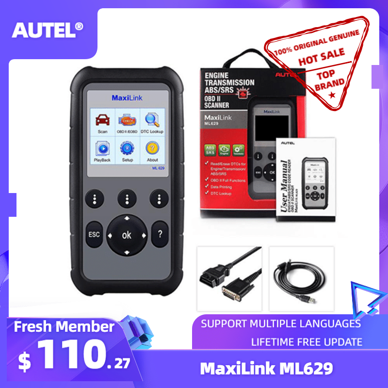 Autel MaxiLink ML629 ze specjalistami, obrazami diagnostycznymi automatyczne narzędzie diagnostyczne OBD2 kod skanera czytnik ABS Airbag czytnik kodów aktualizacji Autel ML619 AL619