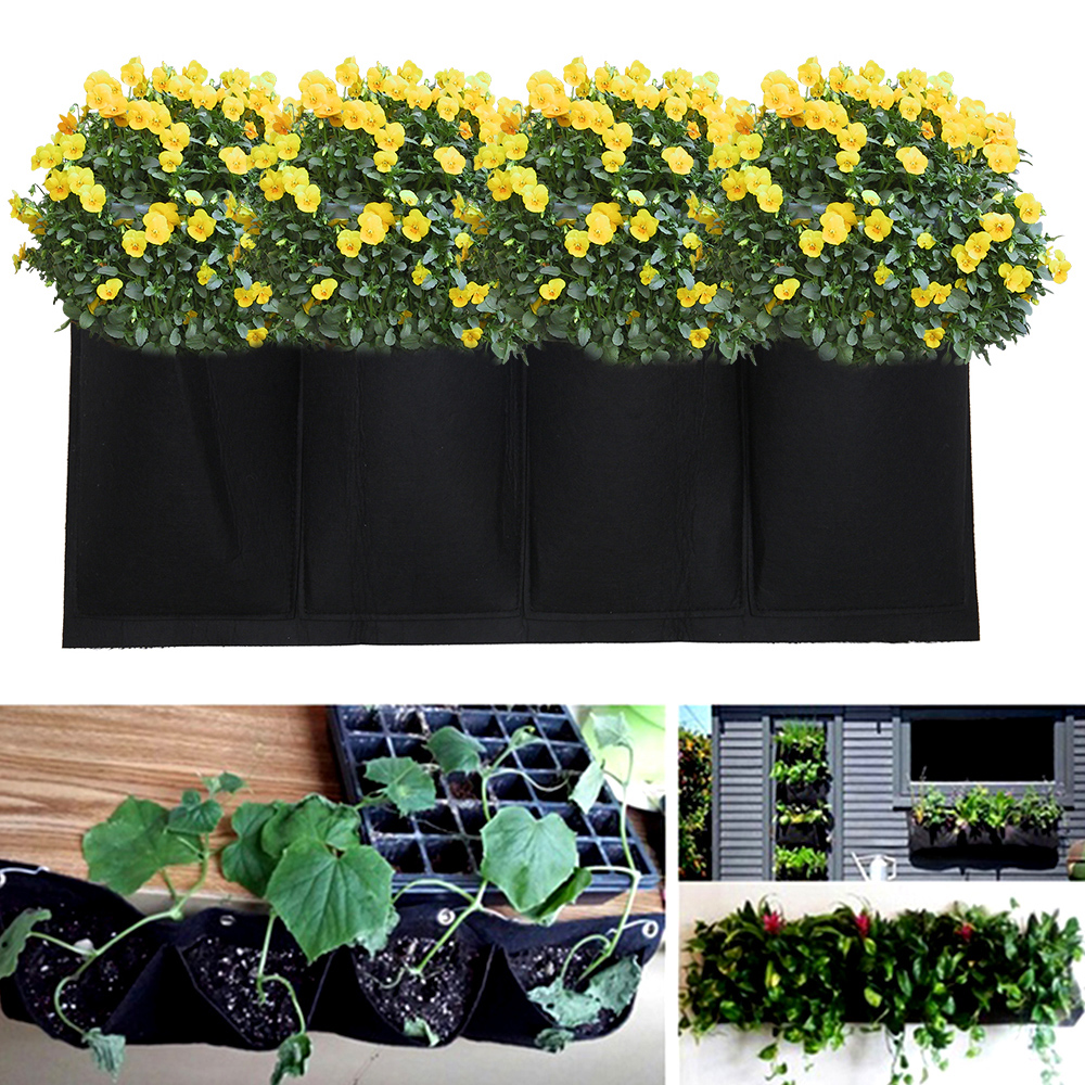 Wall Hanging Planting Bags Garden Vertical Planter  Pocket For  Wall-mounted Gardening Flower Outdoor Indoor Growing Pots