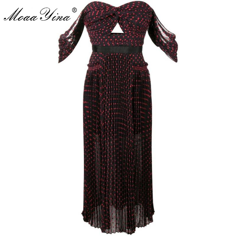 MoaaYina High Quality Spring Summer New Dot Wine Red Sexy Party Elegant Dress