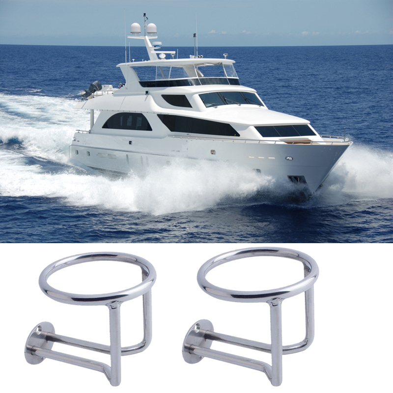 Silver Stainless Steel Boat Ring Cup Drink Holder for Marine Yacht Truck Car