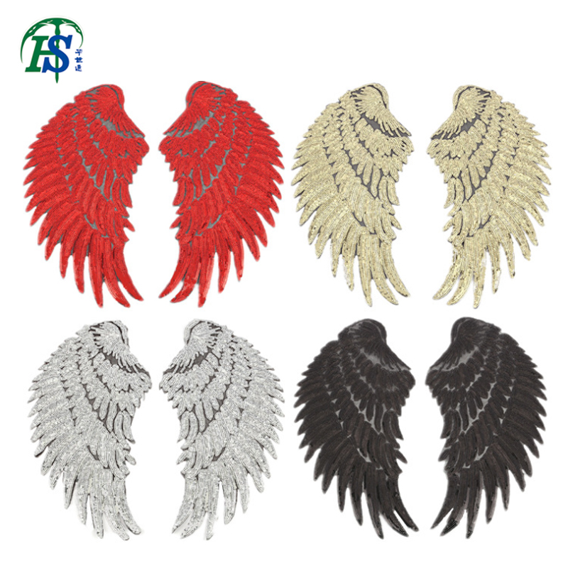 1Pair Angel Wing Patches For Clothing Stripe Iron On Sew On Sequin Patch For Jacket T Shirt Stickers Badge Clothing Accessories