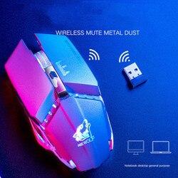 2.4GHz bezprzewodowa mysz Gamer Mute akumulator mysz 7 kolor podświetlany LED 1600DPI optyczne gry mechaniczne myszy na PC Laptop