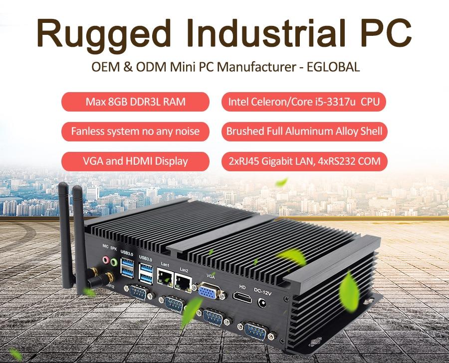Egobal Fanless Industrial Pc Intel Celeron 1037U With 4COM Cpu Gamer VGA HD DDR3L Dual LAN Mini Desktop Pc
