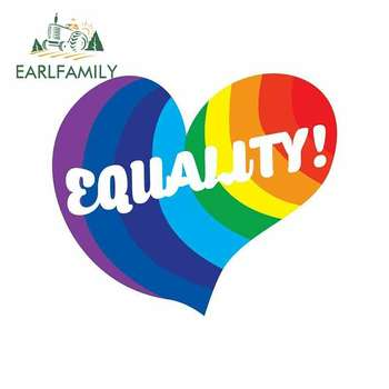 EARLFAMILY 13cm x 11.2cm for Equality Rainbow Pride Hearts Car Stickers Helmet Motorcycle Sunscreen Vinyl JDM Waterproof Anime image