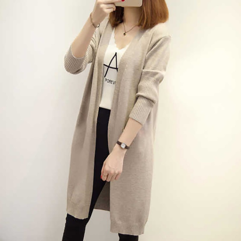 Women Autumn Loose Casual Sweater Cardigan Knitted Long Sleeve Cardigan Coat Long Solid Color Sweater