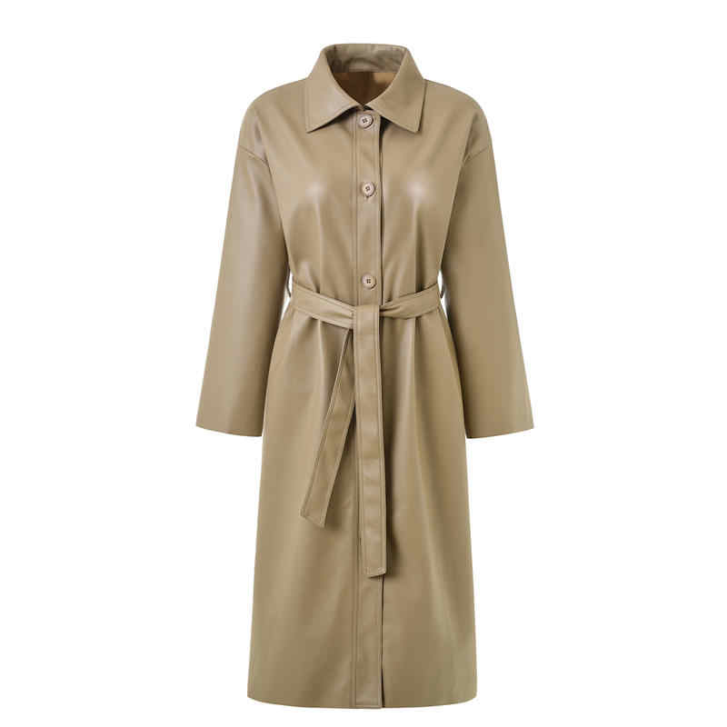 Long PU Leather Coat Women Elegant Loose Spring And Autumn Leather Windbreaker Trench Coat Women Clothing Chaqueta Mujer Q2010