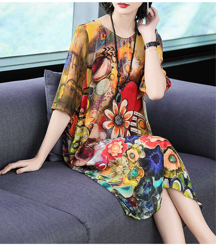 2020 Zomer Zijden Jurk Vrouwen Casual Beach Bloemen Jurk Elegante Midi Dames Jurken Plus Size Boho Vestido Verano KJ1881