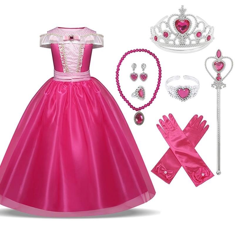 Sleeping Beauty Princess Aurora Cosplay Costume Anna Elsa 2 Girls Dress Kids Dresses For Girls Halloween Party Dresses 4 6 8 10T