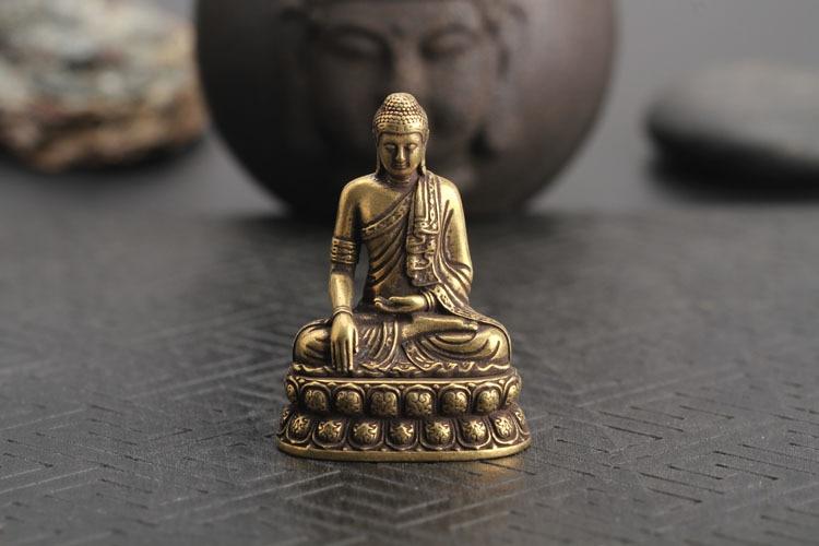 1pc Home Office Decor Solid Small Brass Sakyamuni Buddha Figurine Mini Statue