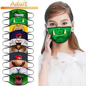 Модная маска для лица на Хэллоуин для мужчин и женщин и мужчин с 3D принтом моющиеся дышащие маски mondkapjes wasbaar #4