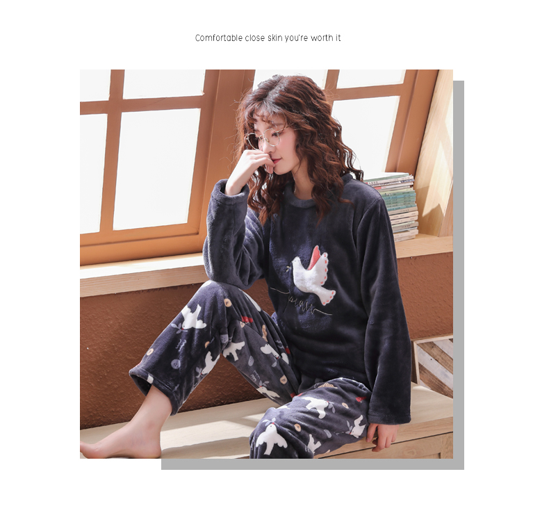 Long Sleeve Warm Flannel Pajamas Winter Women Pajama Sets Print Thicken Sleepwear Pyjamas Plus Size 3XL 4XL 5XL 85kg Nightwear 337