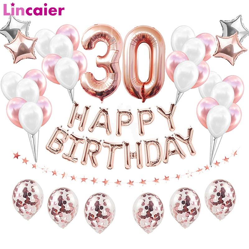 38pcs 30 40 50 60 Ouro Rosa Feliz Aniversário Balões Folha de Aniversário Decorações Da Festa de Aniversário Adulto Aniversário 1st 18 21st 30th