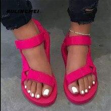 New 2020 Women Summer Soft Slip Sandals Woman Hook & Loop Strap Foam Sole Durable Ladies Outdoor Casual Beach Shoes