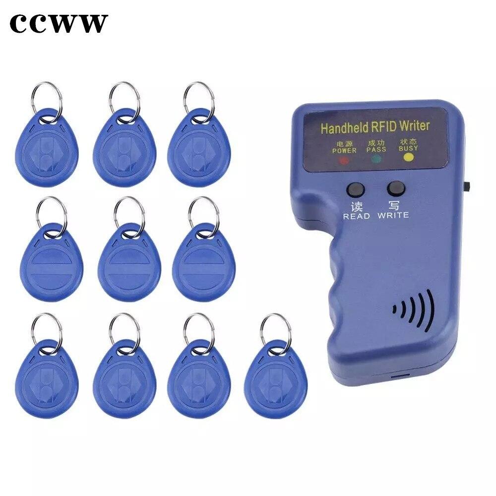 Ручной RFID-Дубликатор EM4100 TK4100 125 кГц, копировальный аппарат, записывающее устройство, 10 шт. перезаписываемых ID-брелоков EM4305 T5577, бирки, програм...